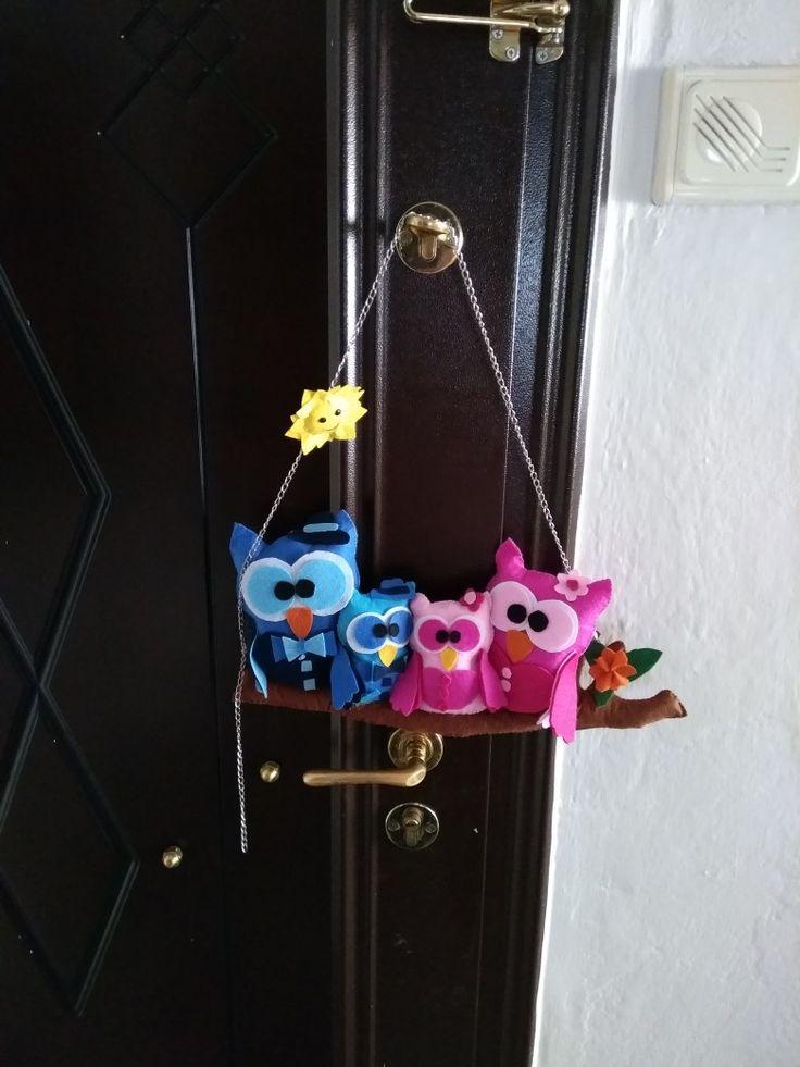 Keçe baykuş kapi süsü