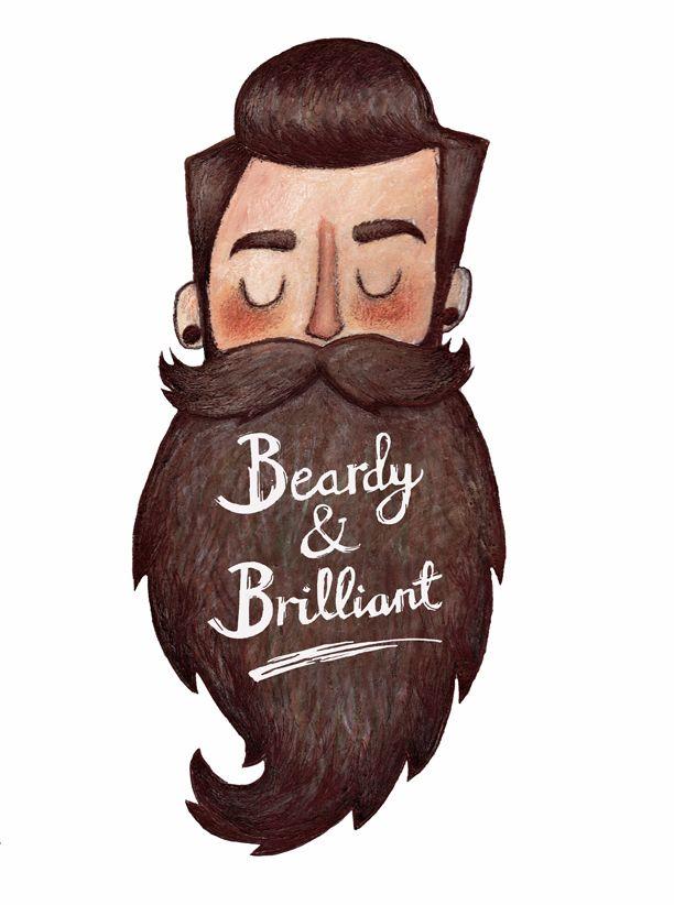 Beardy & Brilliant - awesome beard art artwork full thick dark beard and mustache beards bearded man men graphic illustration print cute  #beardart #beardlove #beardsforever