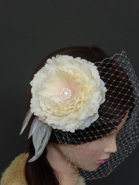 Bridal Ivory Silk Peony Flower Fascinator Ostrich Feathers Detachable Bandeau Veil Wedding Hairpiece READY TO SHIP Actual Product