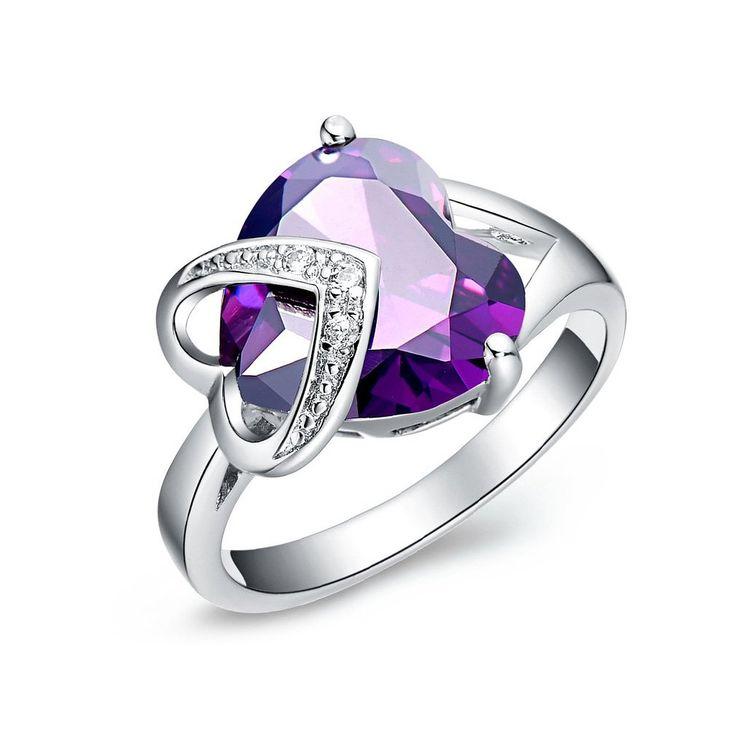 FLORAY Femme Élégant Saphir violet Bague, En forme de coeur Pierre gemme, avec Transparent clair Zirconia, Plaqué or,