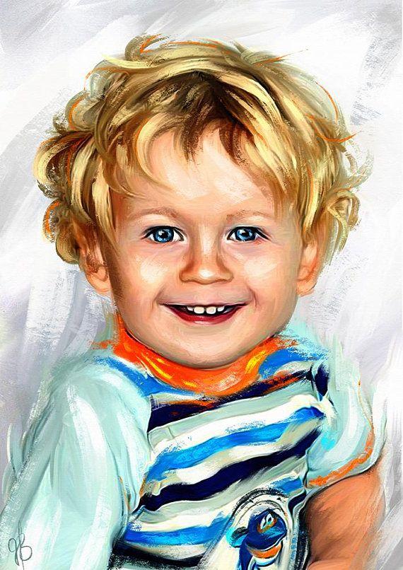 Digital Child Drawing Portrait Custom Kids digital art