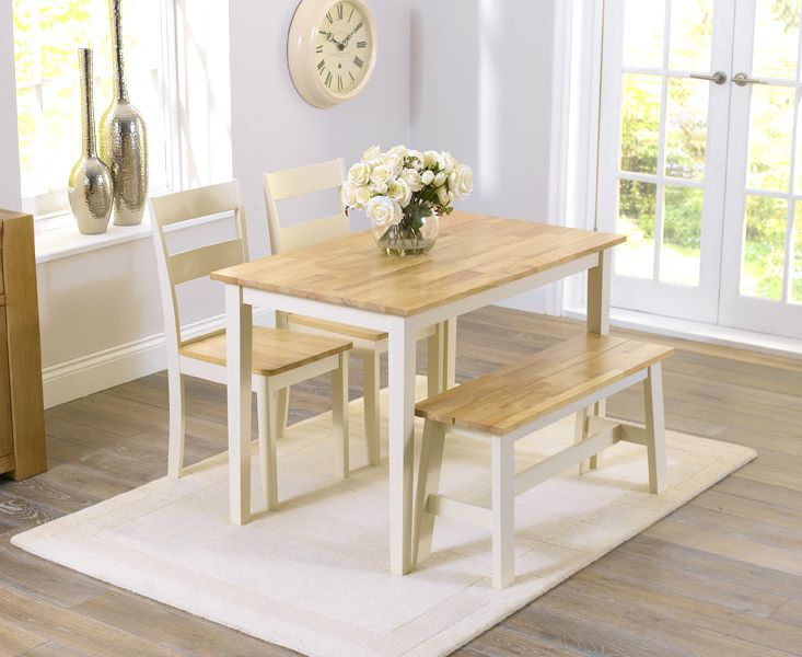 Buy The Chiltern Oak And Cream Dining Table Set With 2 Chairs Bench At Great Furniture Trading Company