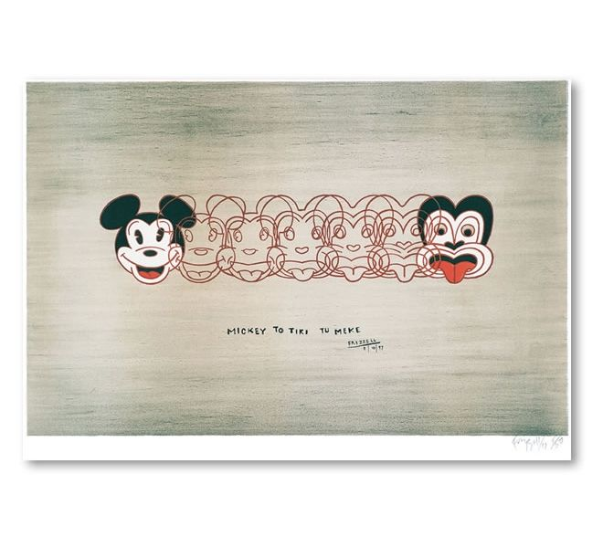 Mickey to Tiki Tu Meke. Box framed print by New Zealand artist Dick Frizzell. 26.5cm x 40cm x 4cm