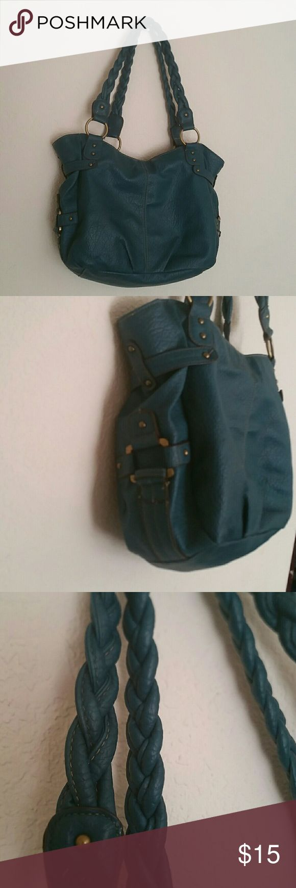 Large side bag This was loved and used a lot by me. As a purse and a book bag for school but I no longer use it. Deep teal/blue color. Soft with braided straps. One interior zip pocket and the back also zips closed on top. target Bags Shoulder Bags