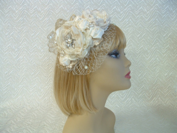 Ivory and cream satin and lace bridal fascinator vintage style Available on eBay http://www.ebay.com.au/itm/BRIDAL-WEDDING-FASCINATOR-IVORY-SATIN-LACE-CRYSTAL-PEARL-VINTAGE-STYLE-/271196645387?pt=AU_Wedding_Clothing=item3f2494680b