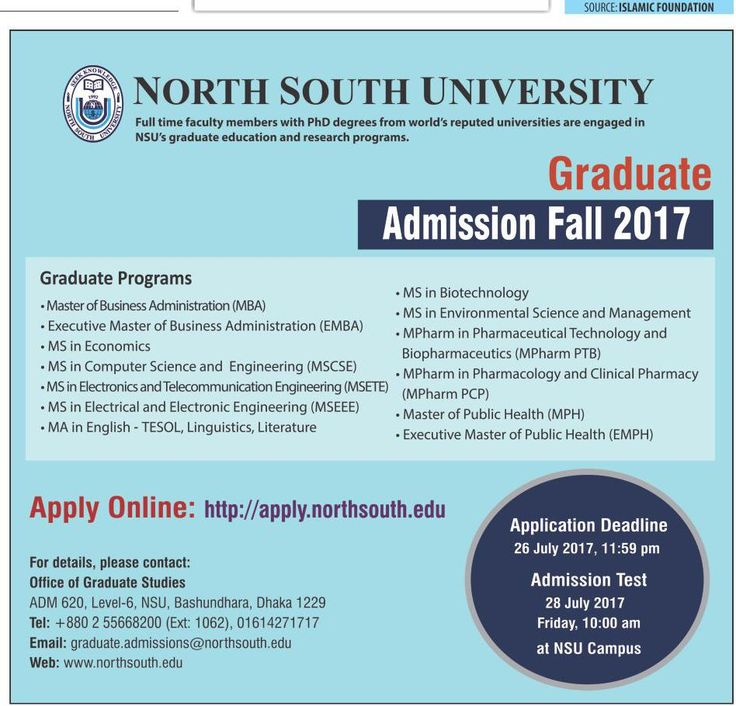 Graduate Admissions Notice Fall 2017 At North South University