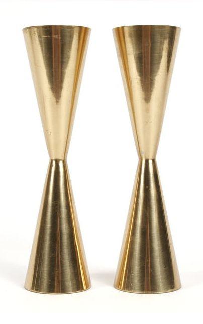 Tapio Wirkkala; Brass Candle Holders, c1960.