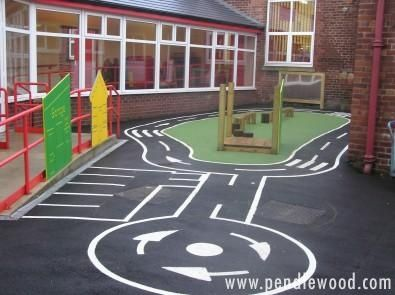 This cycle path is complex with visual literacy and several elements for road role play. Direction controls support safe play.
