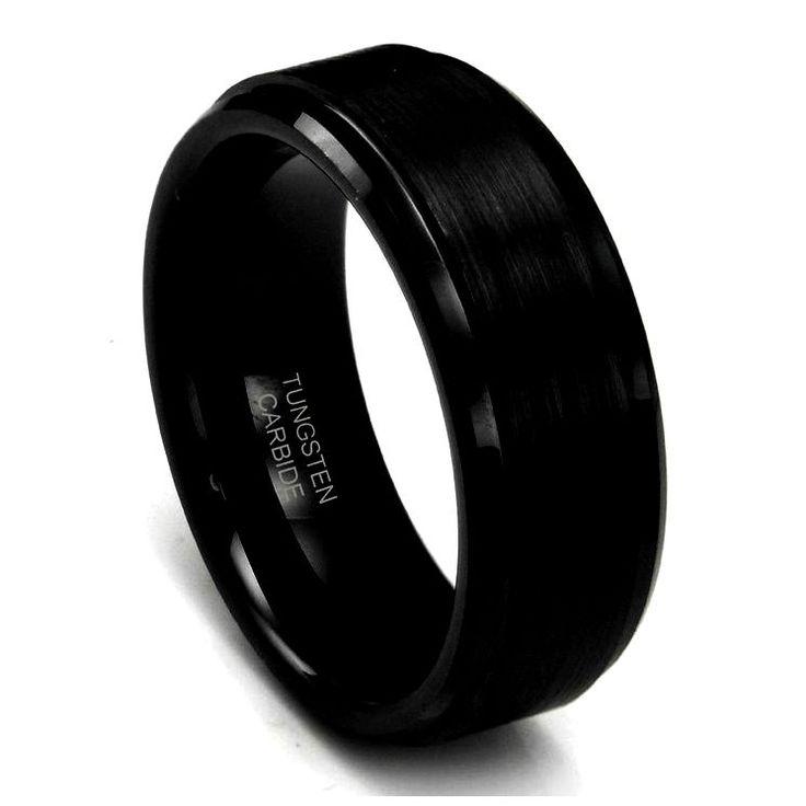 Anillos negros de la boda para los hombres (de compromiso de oro negro, anillos de oro negro)