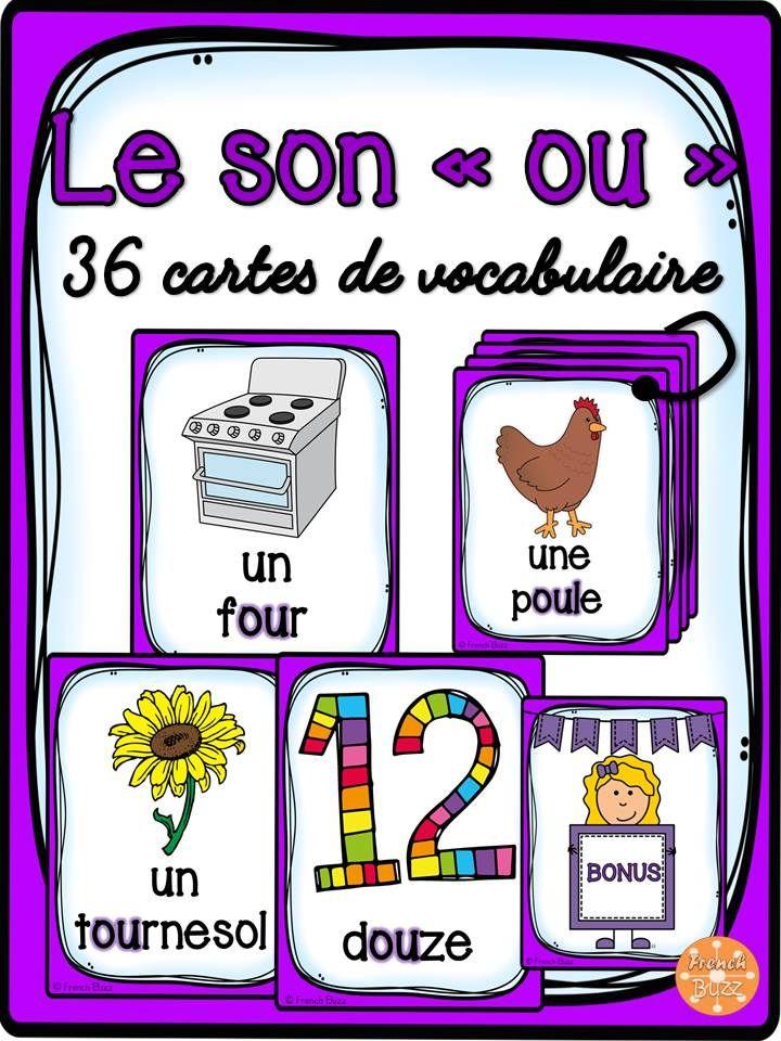 """36 cartes de vocabulaire avec des mots contenant le son """"ou"""". Ces cartes peuvent être utilisées dans des jeux de lecture ou comme référentiel pour ce son."""