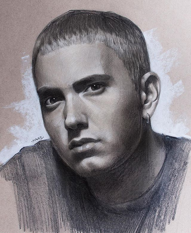 WEBSTA @ maas.art - Happy Monday! From the sketchbook today, my drawing of @eminem  He is definitely the most requested portrait I've had over the past little while - and you can't deny his talent - but I sure wish his lyrics weren't quite so harsh.  This #sketch was done in #graphite