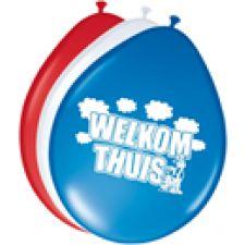 Ballonnen Welkom thuis. Rode, witte en blauwe ovaalvormige ballonnen van 30 cm verpakt per 8 stuks. Deze latexballonnen zijn bedrukt met de afbeelding van een koe en de tekst Welkom thuis. De perfecte ballonnen voor de aankleding van uw huis voor een thuiskomer. Altijd leuk om zo verwelkomd te worden !