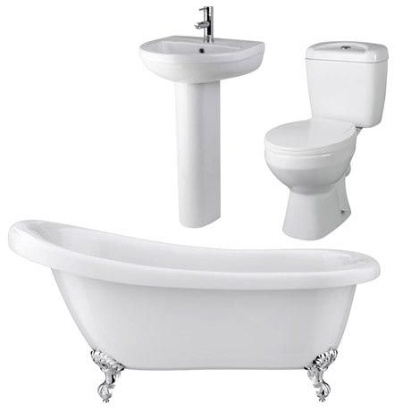 Melbourne Traditional Roll Top Slipper Bath Suite (1550mm)