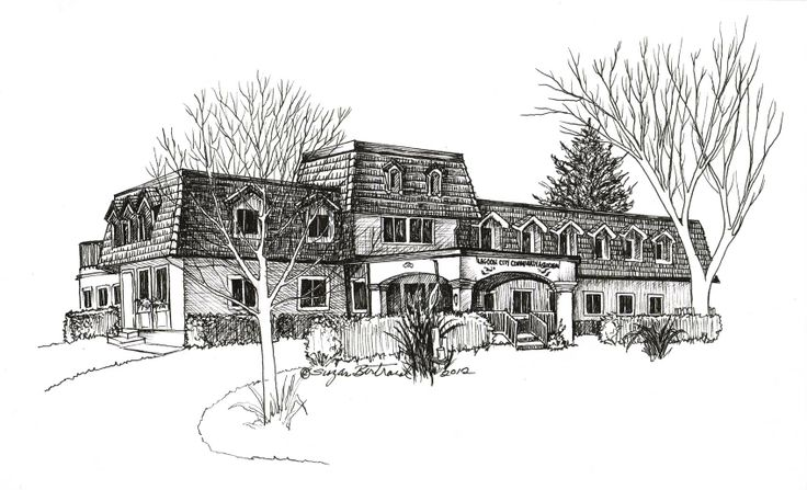 "Lagoon City Community Building. Pen & Ink. 8"" x 10"".  Gallery 7, Lagoon City, Brechin, On. Prints available."