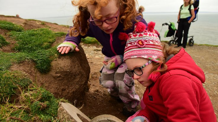 Looking for the fairies at Baggy Point © National Trust / John Millar Baggy Point in North Devon is a great place to enjoy a family day out. With an easy-access walking trail & free family activity packs to borrow, it's a great way to get kids walking. Borrow a family activity pack at our car park hut, which is open between Easter & the end of October. The pack is full of gadgets, such as binoculars & magnifying glass. a map of Baggy Point - showing walking routes a series of activity cards