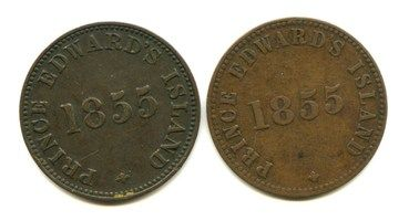 """Lot of 2 1855 Canada """"Prince Edward's Island"""" Tokens: PE-7A1 and PE-7A2 ¦ The Stamp & Coin Place"""