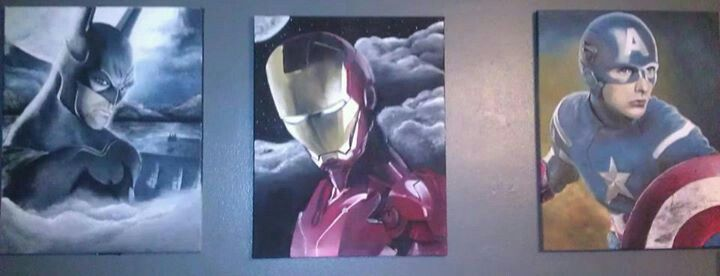 "Batman and Iron-Man, Captain America 16x20"""