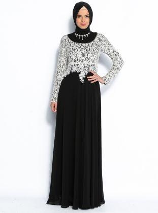 Taş Süslemeli Abiye Elbise - Siyah - Modaysa