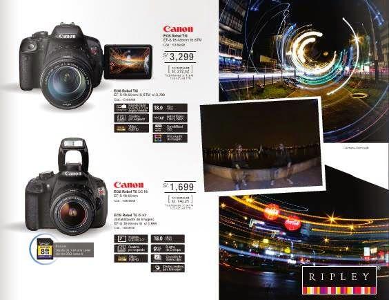 Cámaras Canon desde s/.1.699 / Ofertas de Ripley 11-2014. Precio de la Cámara Canon EOS Rebel T5i, s/.3.299. Precio de la Cámara Fotografica Canon EOS Rebl T5 DC Kit, s/.1.699