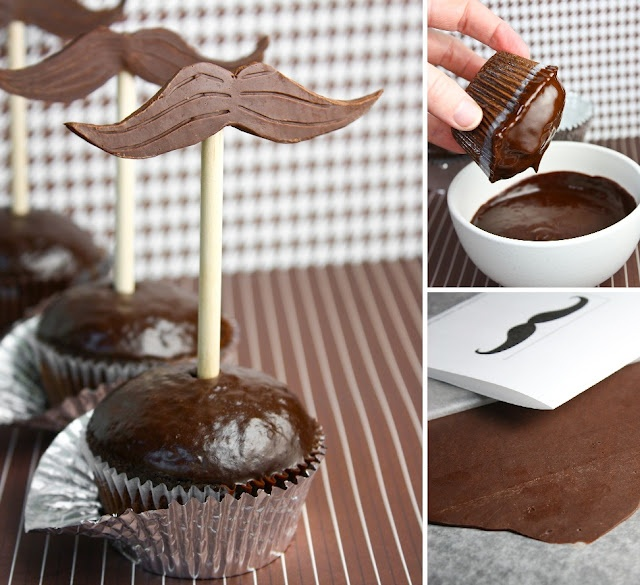 Chocolate mustache cupcakes