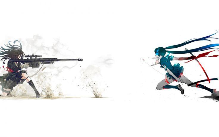Скачать обои девушки, снайперская винтовка, меч, арт, длинные волосы, раздел аниме в разрешении 1920x1080