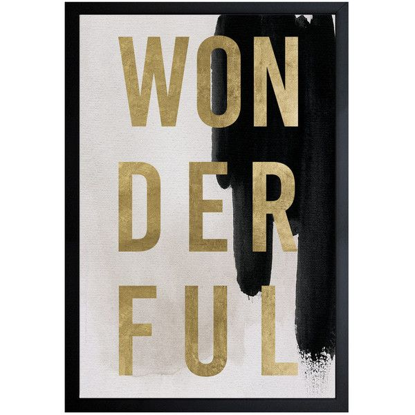 Oliver Gal 'wonderful Neutral' Framed Art Gold;black 32 X 47 By (31,975 DOP) ❤ liked on Polyvore featuring home, home decor, wall art, artwork, black home decor, gold home decor, framed wall art, neutral home decor and gold home accessories