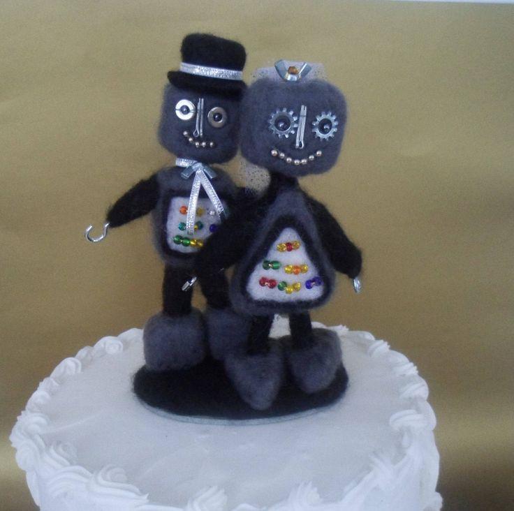 Robot Wedding Cake Topper Needle Felted by LaTatineFelt on Etsy