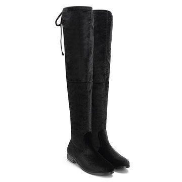 <b>Black Velvet</b> Lace-up Back Knee <b>High</b> Boots - US$61.95 | <b>Women's</b> ...