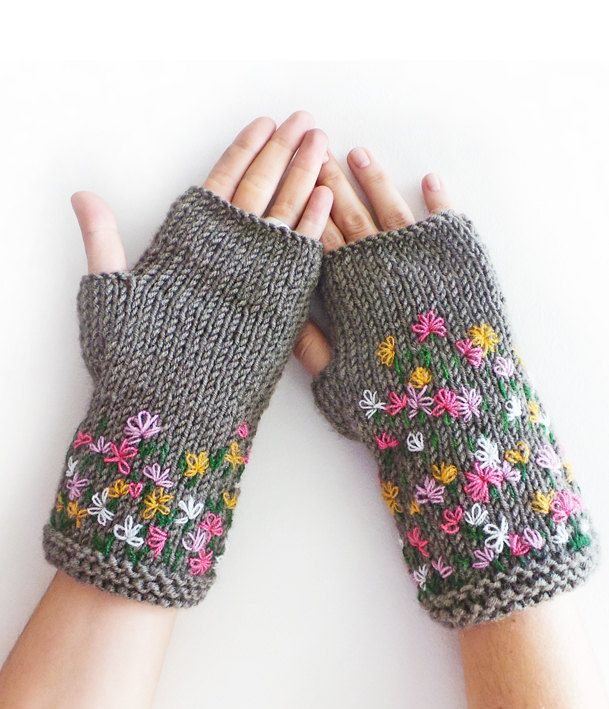 FREE SHIPPING, Grey Stitch Knit Fingerless Gloves, Arm Warmers by SabaKnits on Etsy