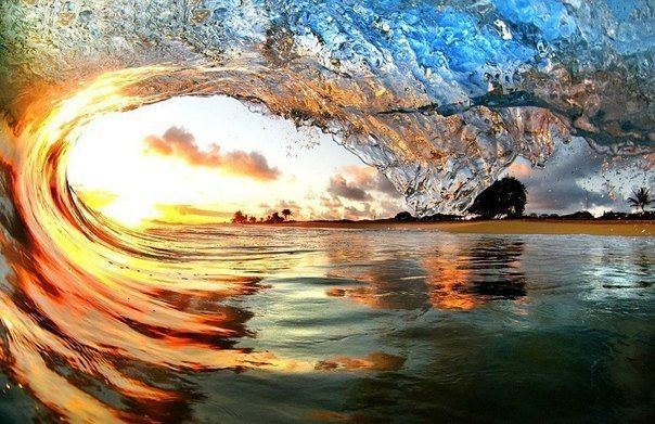 Sunset With Sea Wave Tap To See More Breathtaking Beach: A Watery Sunset In Hawaii: Crystal Clear Photographs Of