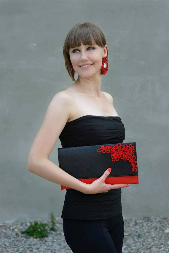 Soutache applique clutch, purse, handbag, bag office accessories dress accessories