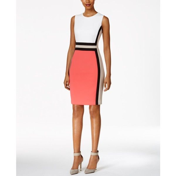 Calvin Klein Colorblocked Sheath Dress ($134) ❤ liked on Polyvore featuring dresses, colorblocked dress, white sheath dress, tailored white dress, color block sheath dresses and colorblock dress