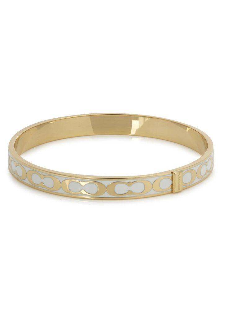 Coach gold plated bracelet White signature logo enamel Slips on
