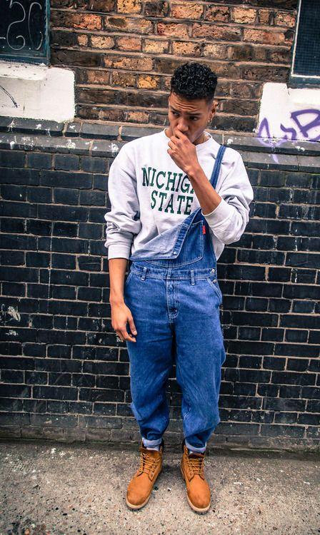 Men's Grey Print Crew-neck Sweater, Blue Denim Overalls, Tan Leather Boots