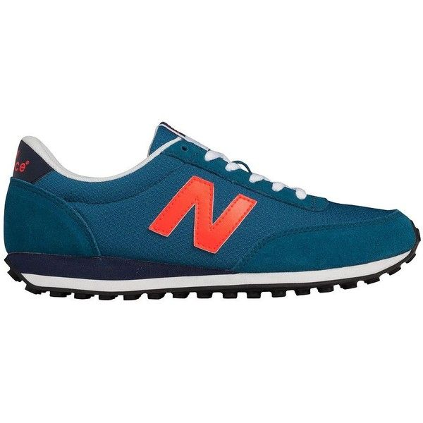 New Balance 410 Fashion Sneakers ($65) ❤ liked on Polyvore featuring shoes, sneakers, blue, new balance shoes, almond toe shoes, new balance trainers, new balance sneakers and blue shoes