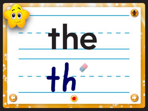 Sight Words: Kids Learn – There are 25 sight words to practice in this app (the paid version has more). Kids can practice the words by writing them, recording and listening to themselves (nice feature!), and by practicing the words in a few activities. I think this app provides great practice. (No ads!)