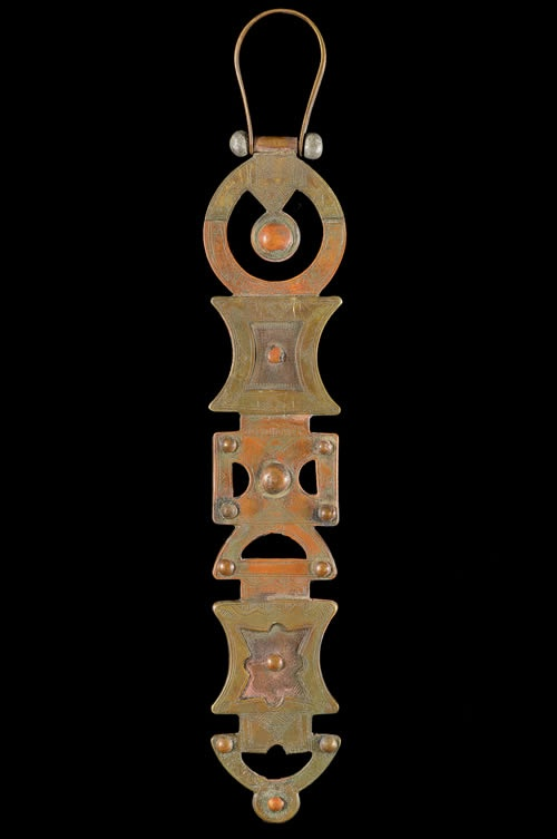 Veil weight from the Tuareg peoples of Mali   Copper and brass