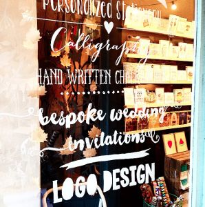 window sign writing by LITTLE PAPER LANE