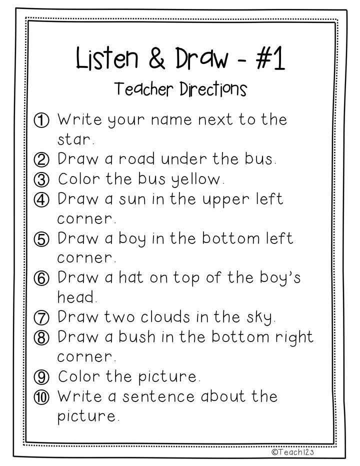 17 Best images about listening skillsfollowing directions on – Listening Skills Worksheets