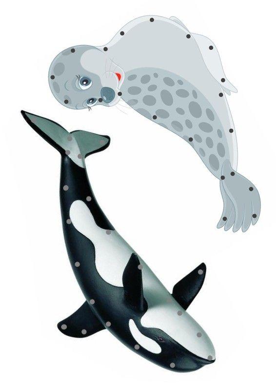 Borduurkaarten / Gabarit - Animaux polaires à lacer