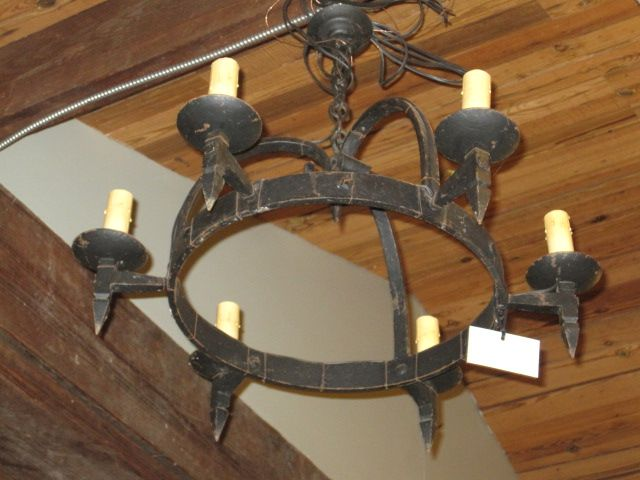 Antique Wrought Iron Chandelier With Candles