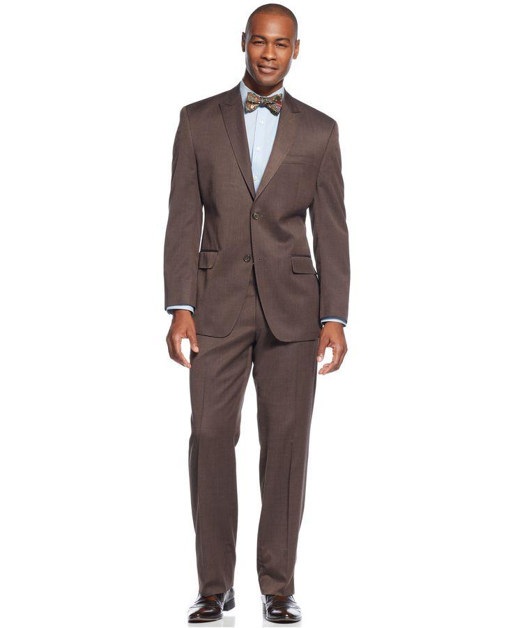 Sean John Peak Lapel Brown Sharkskin Big and Tall Suit - Shop All Suits - Men - Macy's