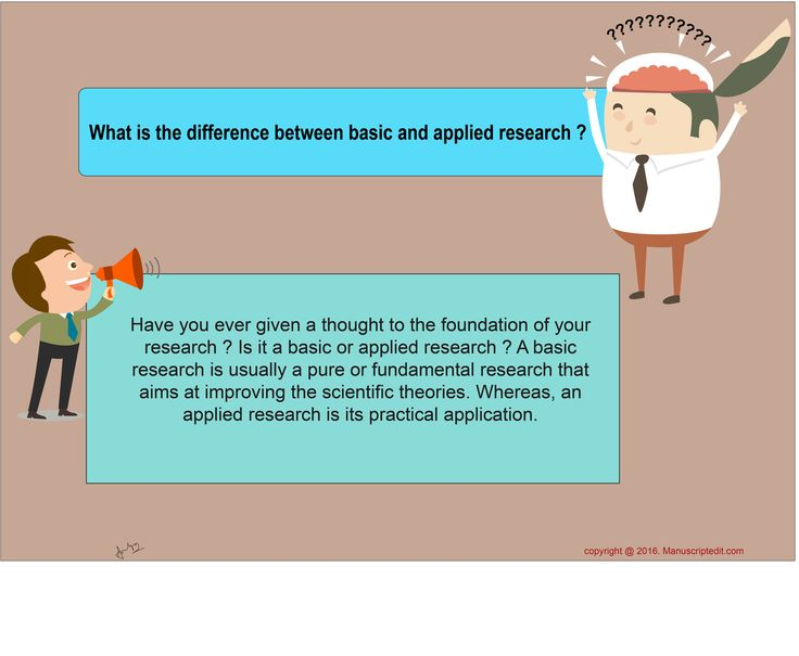 #Manuscriptedit @ What is the difference between basic and applied #research?  Have you ever given a thought to the foundation of your research? Is it a basic or applied research? A basic research is usually a pure or fundamental research that aims at improving the #scientific theories. Whereas, an applied research is its practical application.  #Manuscriptedit ‪#‎post‬ : http://bit.ly/1NvtPEX