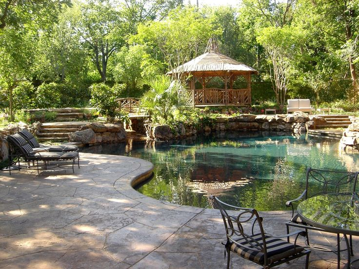 Rustic Swimming Pool with Fence, Pathway, Gazebo, exterior stone floors