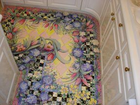 painted floor--how in the world did she do it?  Gorgeous!
