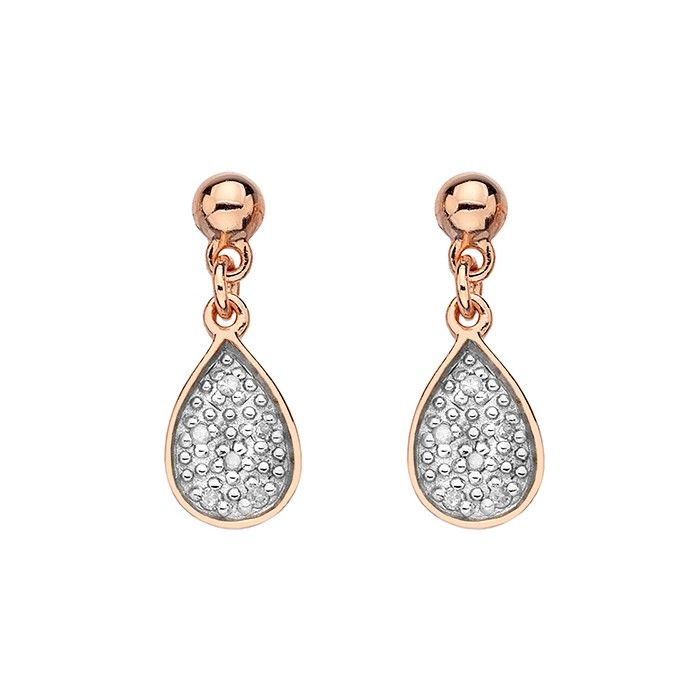 A gorgeous pair of rose gold plated sterling silver pave set diamond  teardrop earrings by Hot