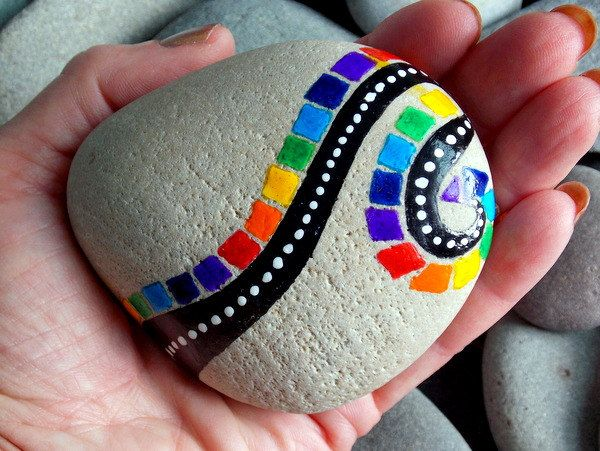 Finding rainbows along life's highways / hand painted rocks / painted stones/ Sandi Pike Foundas / Cape Cod by LoveFromCapeCod on Etsy