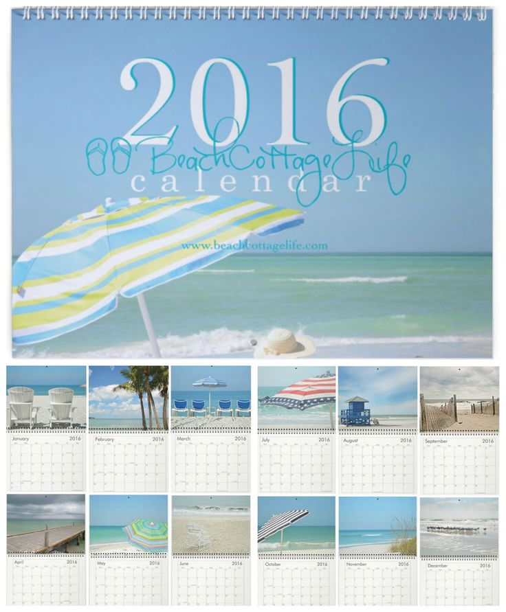"Beach Cottage Life ⚓ 2016 Wall Calendar  8.5x11"" photos printed on heavy card stock.  ""Pure Beach"" or ""Coastal Quotes"" - which one's for you?"