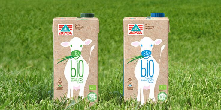 New organic milk packaging by spoondesign (Greece)  for DELTA. Idea: create a sense of innocence; to depict the values of the organic farming procedure. Simple yet effective and fresh look that makes a statement and stands out from the competition on the shelves.