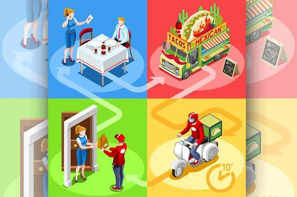 Mexican Food Delivery. Infographic Elements
